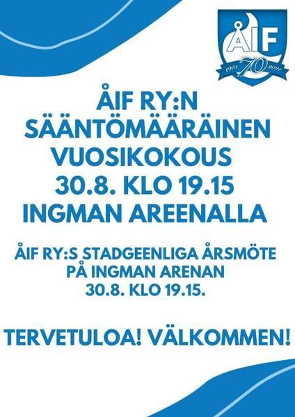 ÅIF Ry:n sääntömääräinen vuosikokous 30.8.