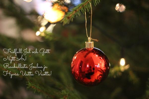 Olemme joulutauolla 16.12.-3.1./ Julledigt 16.12.-3.1.