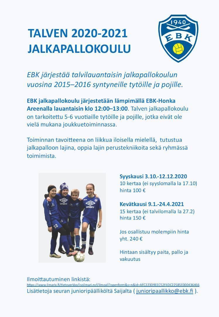 Talven jalkapallokoulu 2015-2016 syntyneille tytöille ja pojille alkaa lokakuun alussa