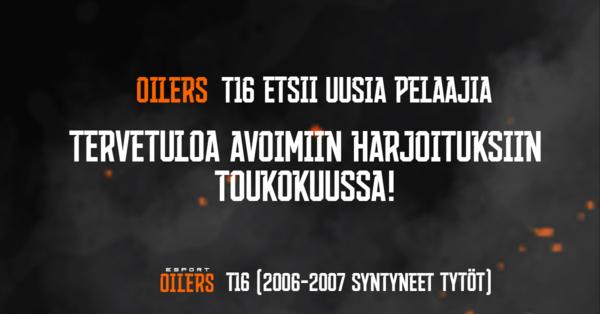 Oilers T16 järjestää avoimia harjoituksia toukokuussa - tervetuloa kokeilemaan!