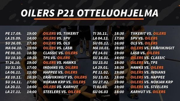 Oilers P21 edustusjoukkueen ottelut SolidSportilla