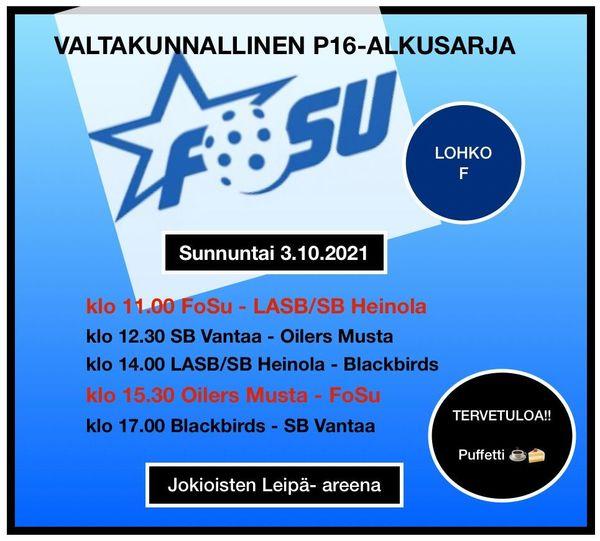 P16 varmisti paikan SM-sarjassa - Alkusarjan viimeinen turnaus Jokioisten Leipä Areenalla 3.10