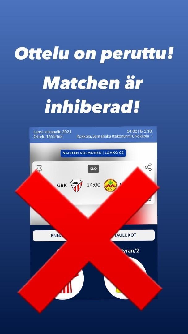 Päivän peli peruttu - Dagens match inhiberad