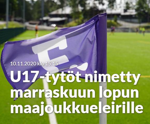 Tuuli Viinikka ja Sara Haapala TU17-maajoukkueleirille
