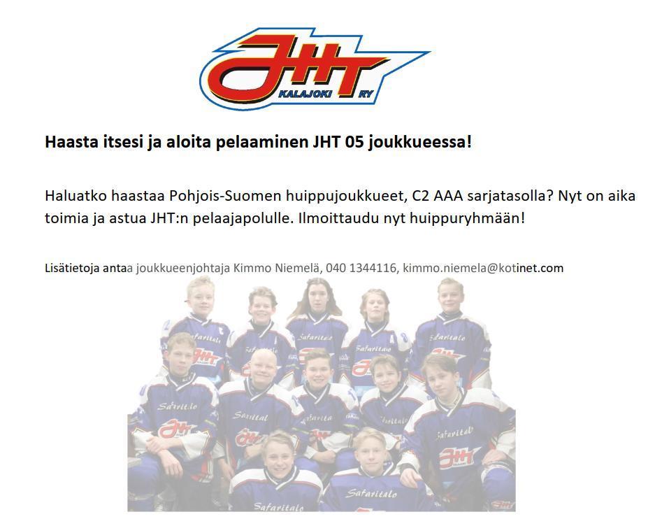 Pelaamaan JHT-05 joukkueeseen