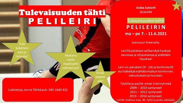 Josba Juniorit järjestää Tulevaisuuden tähti pelileirin 7.-11.6.2021 klo 9-14 Joensuu Areenalla