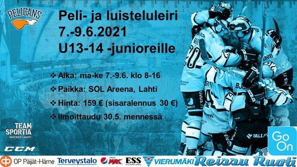 Peli- ja luisteluleiri U13-14 -junioreille 7.-9.6.