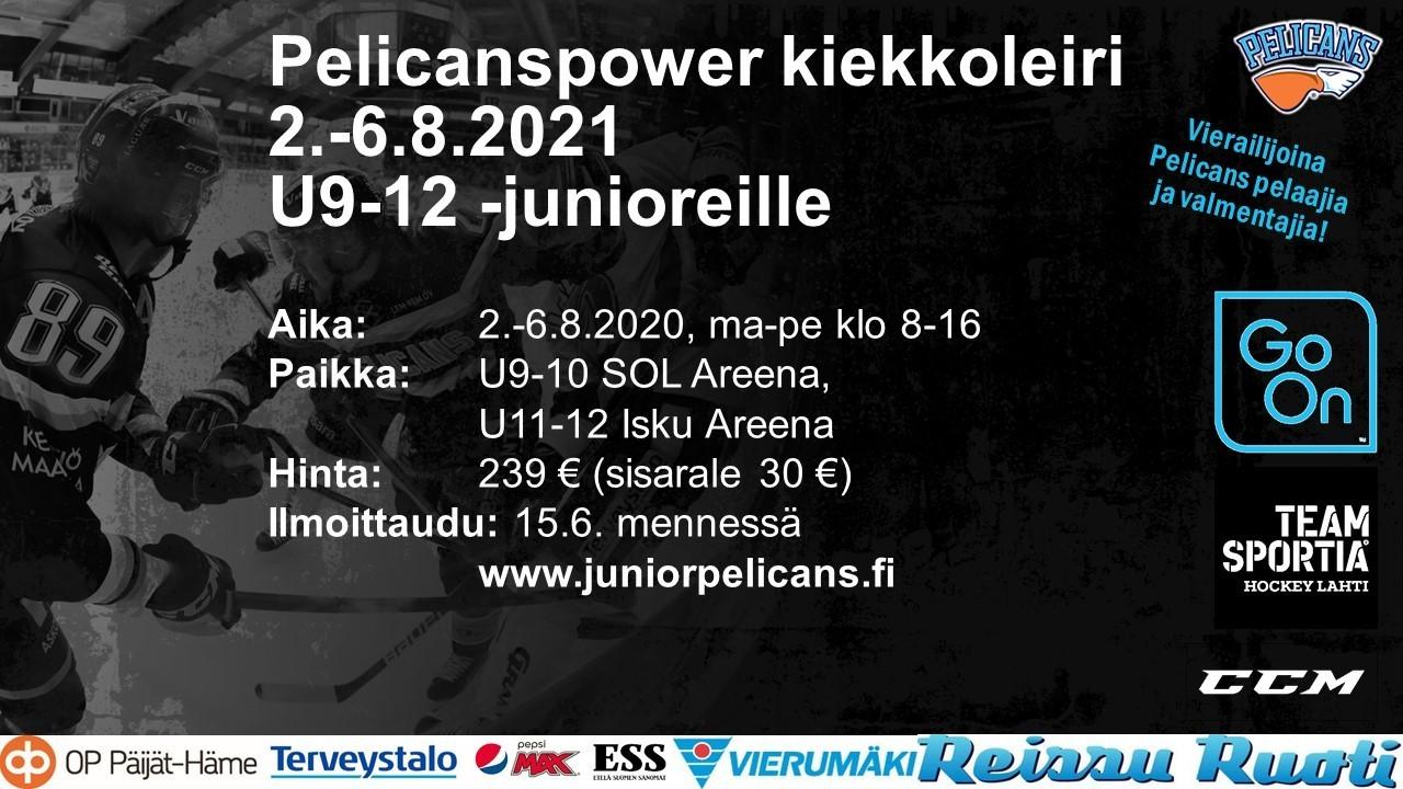 Pelicanspower U9-12 -junioreille 2.-6.8., ilmoittautumisaikaa jatkettu heinäkuun loppuun