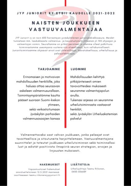 JYP Naiset etsii kaudelle 2021-2022 vastuuvalmentajaa