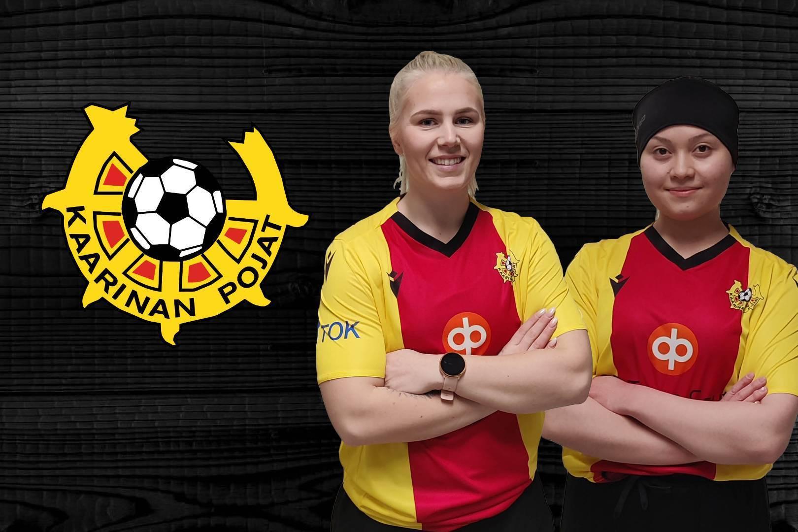 Camilla Saarinen ja Salla Sirén KaaPo-paitaan