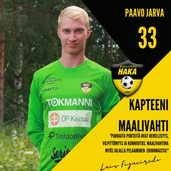 Pelaajaesittelyssä edustusjoukkueen kapteeni ja maalivahti Paavo Jarva #33