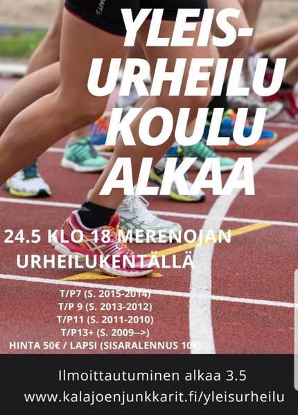 Kesän yleisurheilukoulu alkaa ma 24.5 klo 18