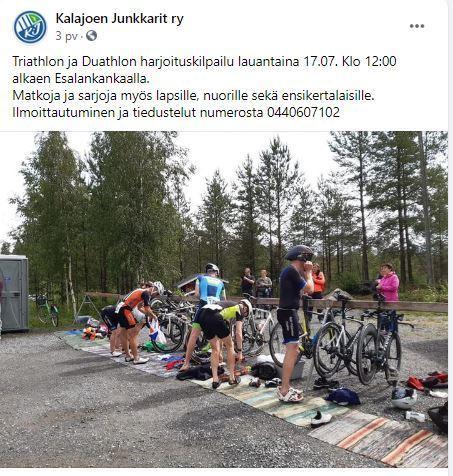 Triathlon ja Duathlon harjoituskilpailu 17.7. klo 12:00 Esalankankalla