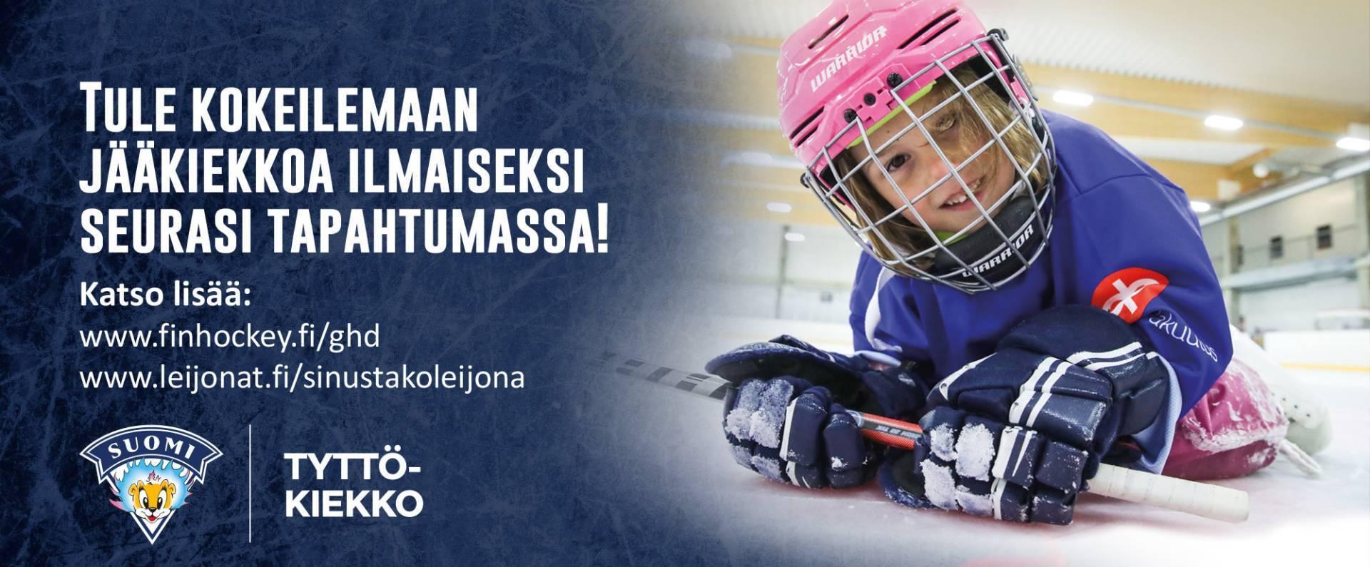 Juniori-KalPan ilmainen jääkiekon kokeilutapahtuma tytöille sunnuntaina 3.10.2021 Olvi Areenalla