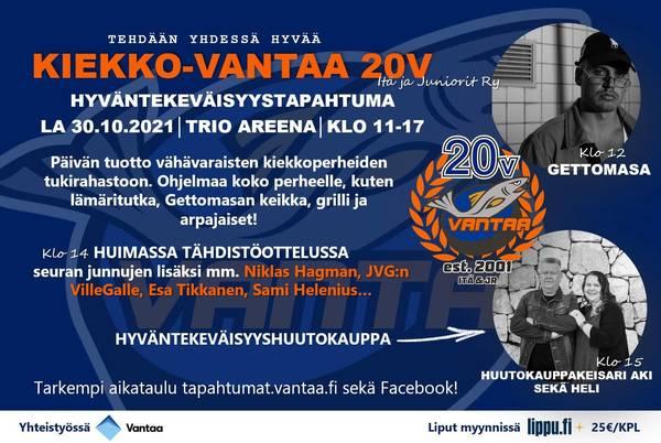Kiekko-Vantaa juniorit 20v. juhlat Trio Areenalla 30.10. klo 11-17