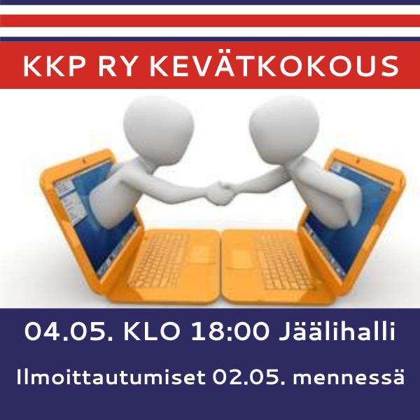 Kevätkokous 04.05. klo 18:00 Jäälihalli