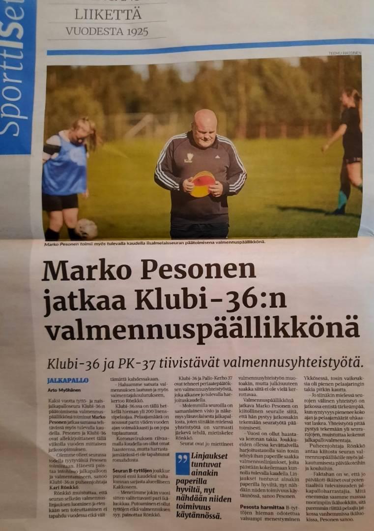 Marko Pesonen jatkaa seuramme valmennuspäällikkönä