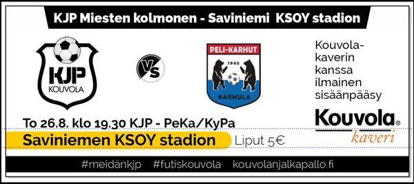 KJP - PeKa/KyPa siirtyy to 26.8. klo 19.30 Saviniemeen KSOY Stadionille!
