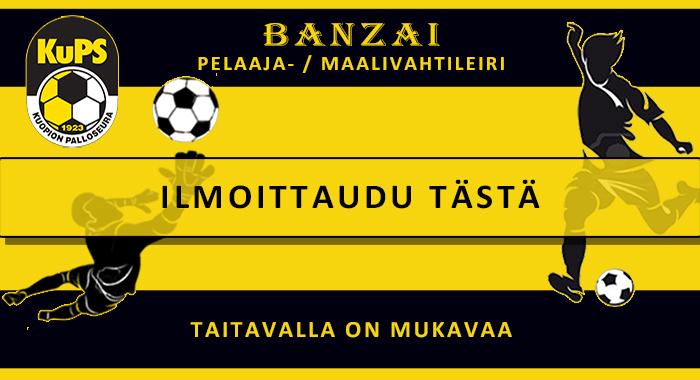 KuPS Banzai pelaaja- ja maalivahtileiri tytöille ja pojille kesäkuussa 2021