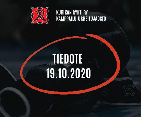 Kamppailu-urheilujaoston tiedote 19.10.2020