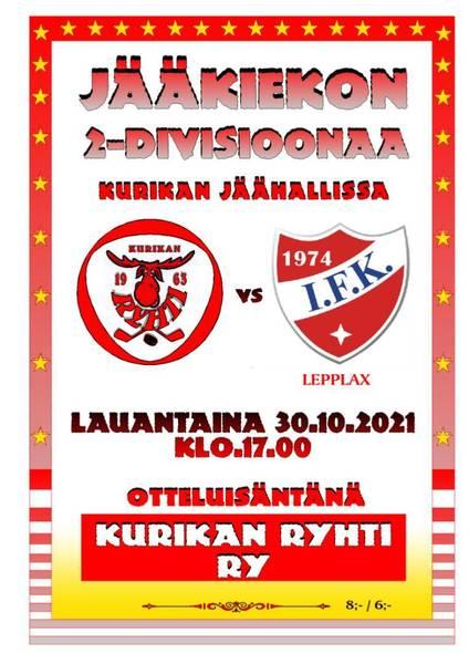 2.-Div KuRy - IFK Lepplax lauanataina 30.10.-21 klo 17