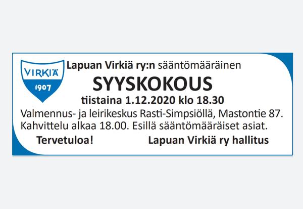Virkiän syyskokous 1.12.2020