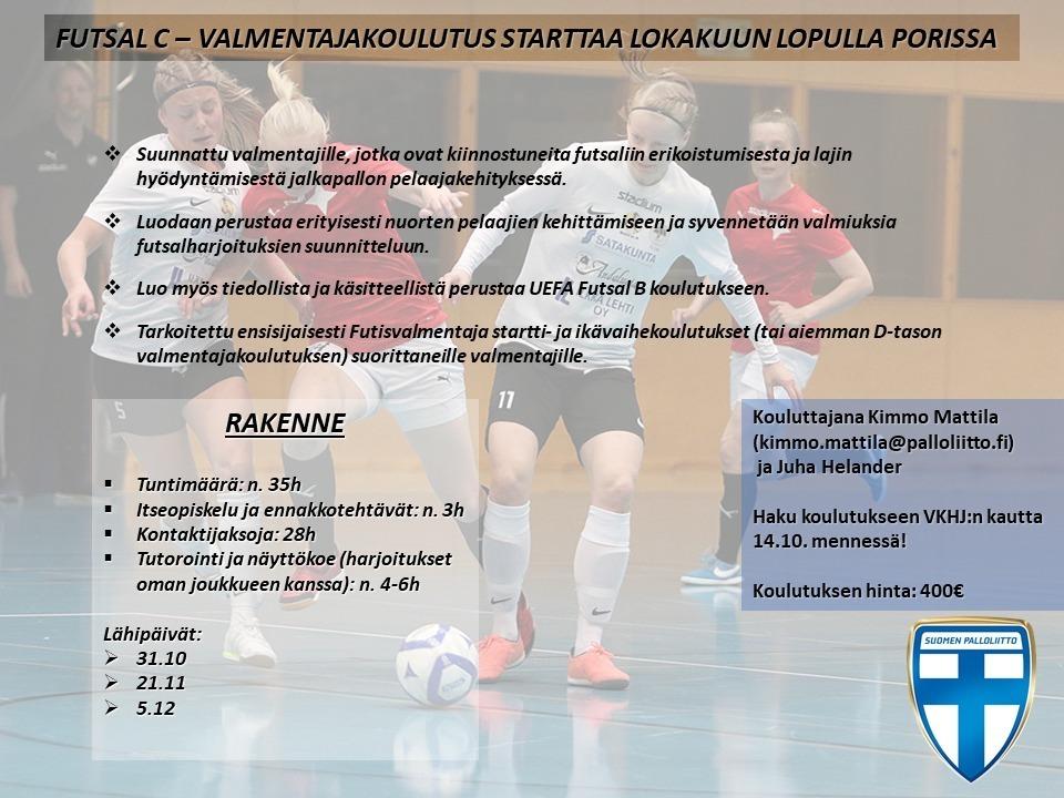 Futsalin valmentajakoulutus alkaa lokakuun lopulla