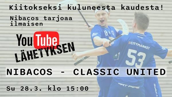 Tämän päivän ottelu  Nibacos - Classic United vapaasti katsottavissa suorana klo 15:00