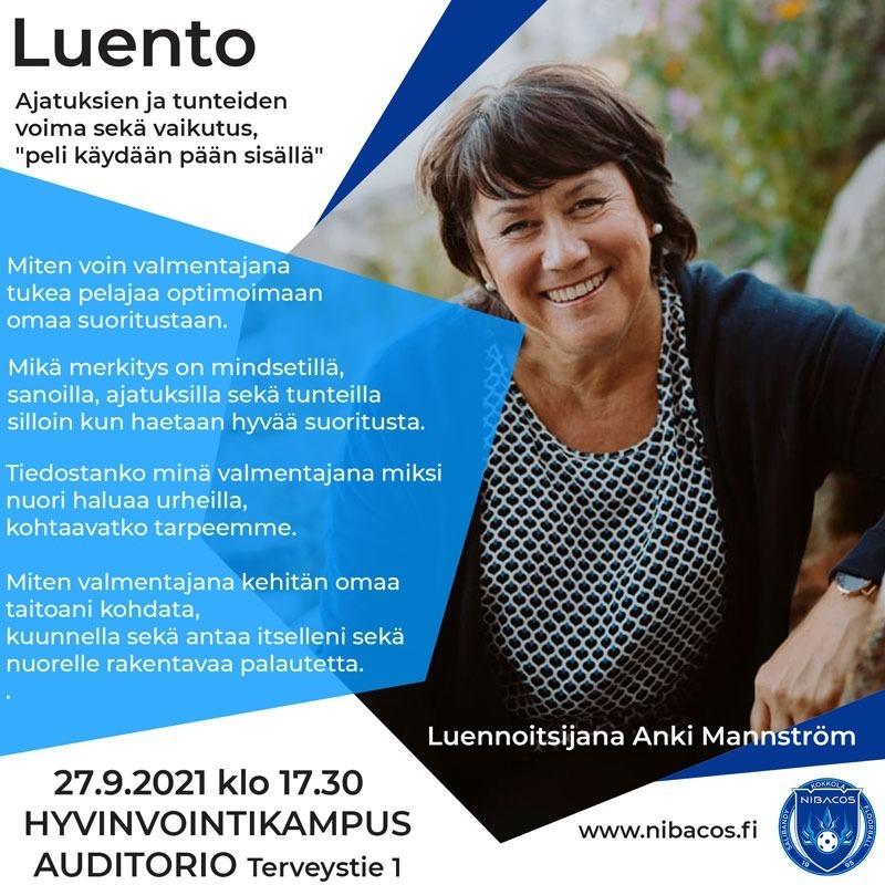 Anki Manntrömin -luento ma 27.9 klo 17.30