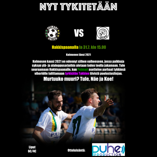 Lauantain 31.7. ottelu JyTyä vastaan on peruttu, vastustajajoukkueen korona-altistumisten takia.