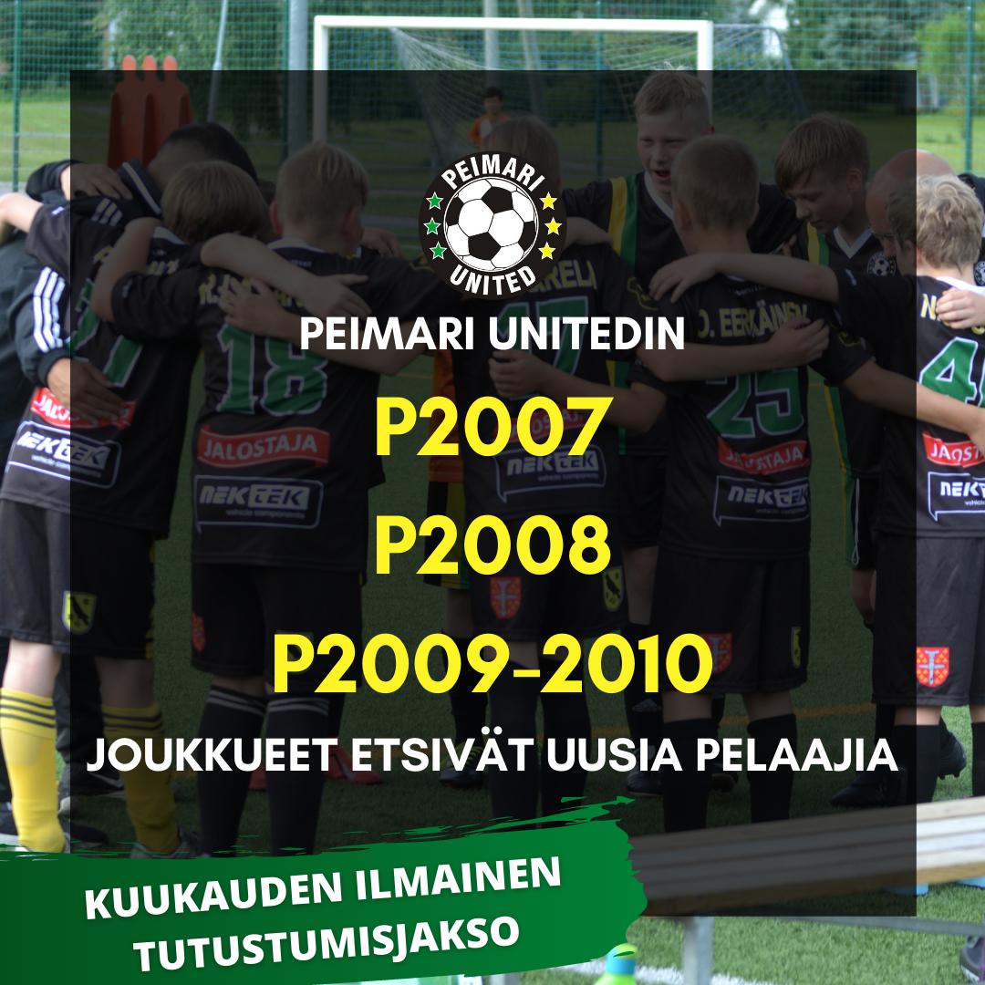 P2007, P2008 sekä P2009-2010 joukkueet etsivät uusia pelaajia ammattivalmennukseen
