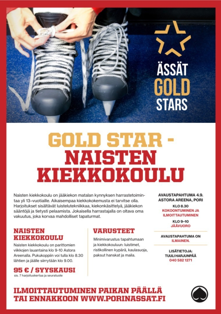 Naisten kiekkokoulu GOLD STAR aloittaa toimintansa 4.9.2021.