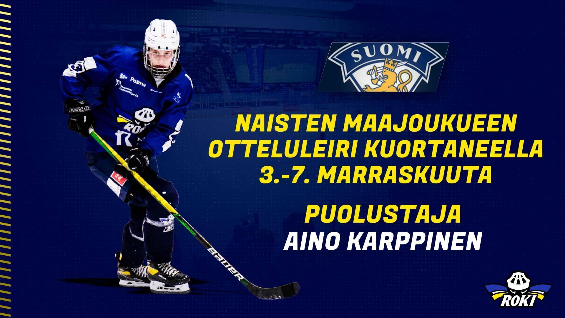 Puolustaja Aino Karppinen mukaan Naisleijonien jää- ja otteluleirille Kuortaneelle