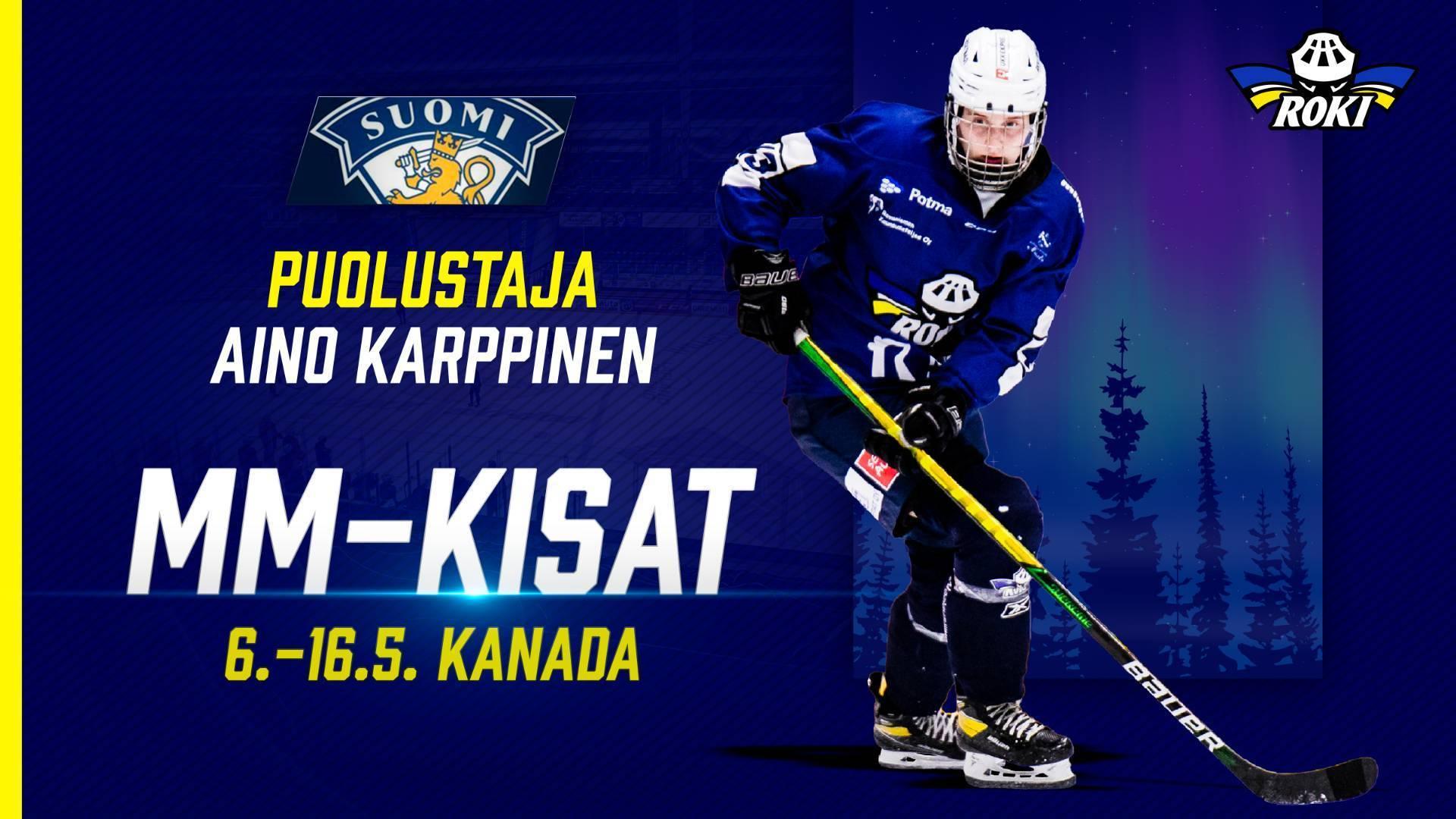 Puolustaja Aino Karppinen on valittu Suomen MM-kisajoukkueeseen Kanadaan!