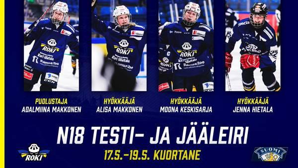 Neljä RoKi-pelaajaa Tyttöleijonien jääleirille toukokuussa!