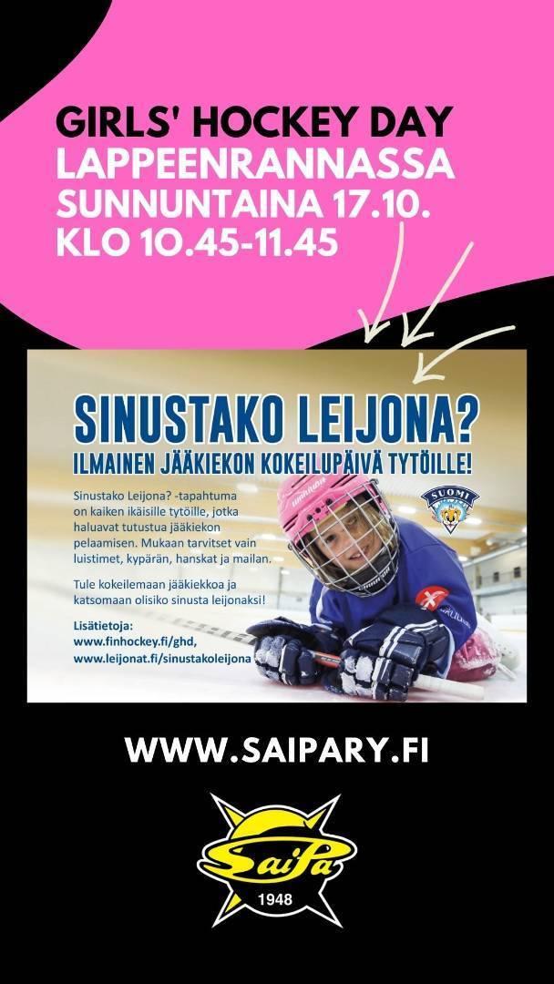 Girls' Hockey Day päivä sunnuntaina 17. lokakuuta!