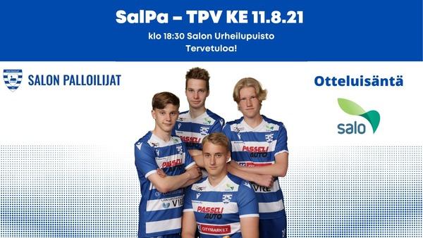 SalPan seuraava kotiottelu 11.8 klo 18:30