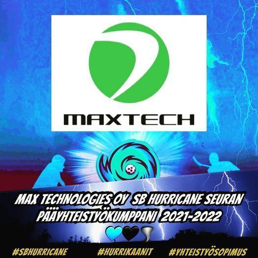 Max Technologies Oy Hurrikaanien pääyhteistyökumppani kaudella 2021-2022