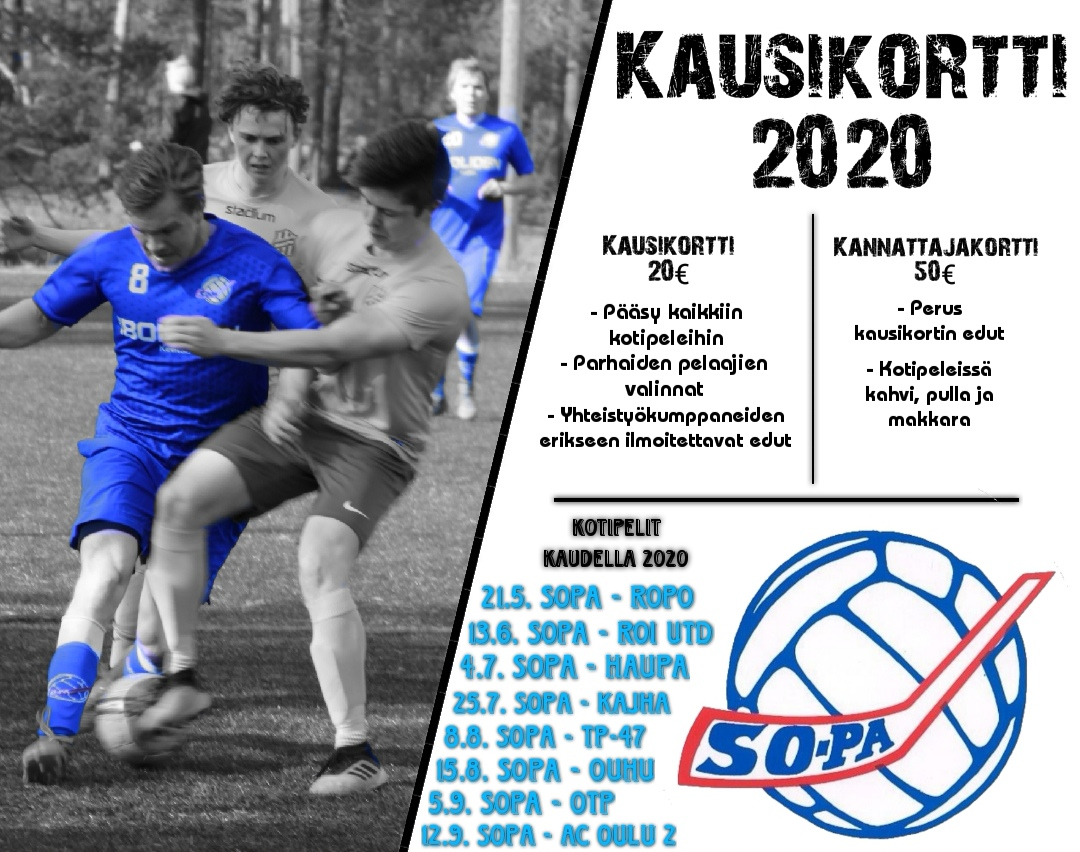 Hanki SoPan miesten jalkapalloedustuksen kausikortti 2020