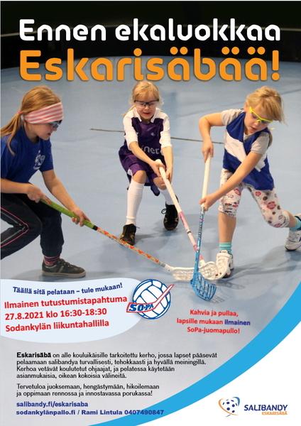 Ilmainen Eskarisäbään tutustuminen Liikuntahallilla pe 27.8.2021 klo 16.30 alkaen