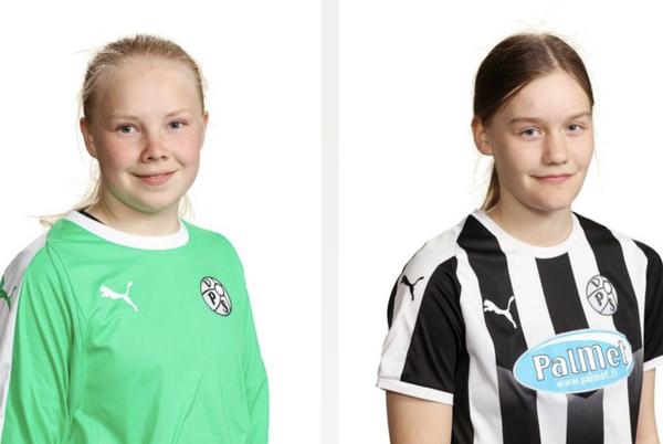 Emma Kari ja Juuli Aspbäck 2007-syntyneiden alueleirille