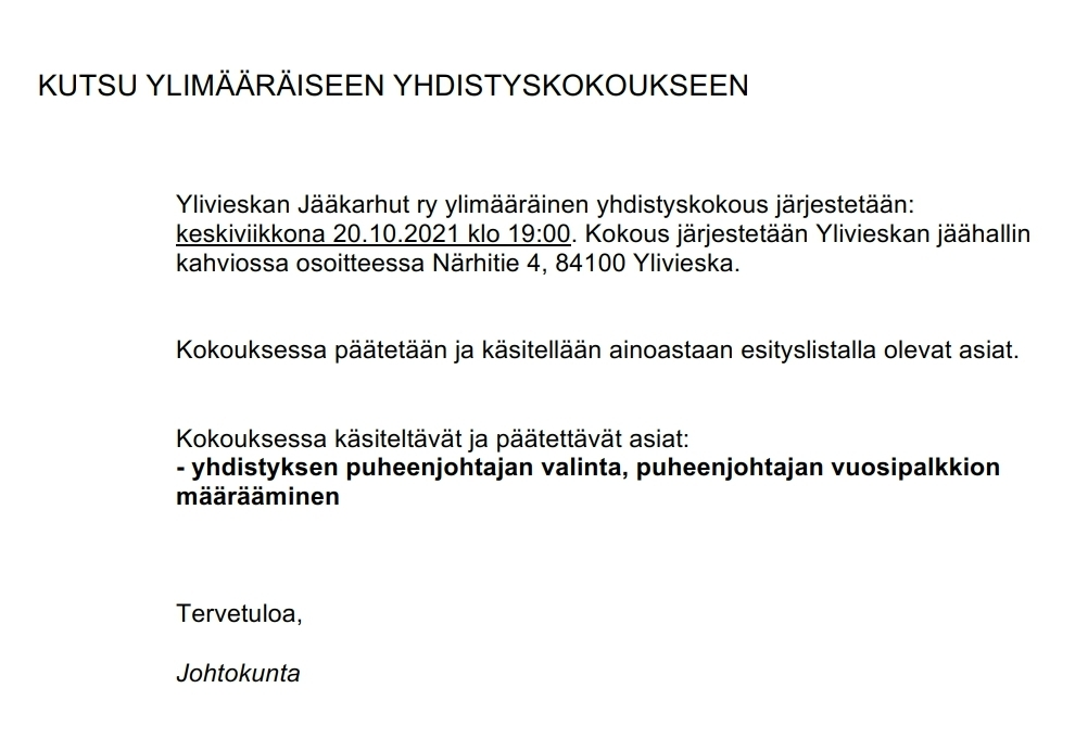 Kutsu ylimääräiseen Yhdistyskokoukseen 20.10.2021